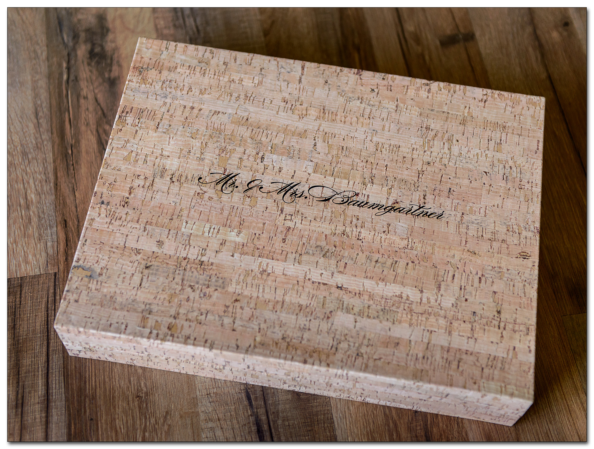 cork wedding album box with Mr. & Mrs. ins