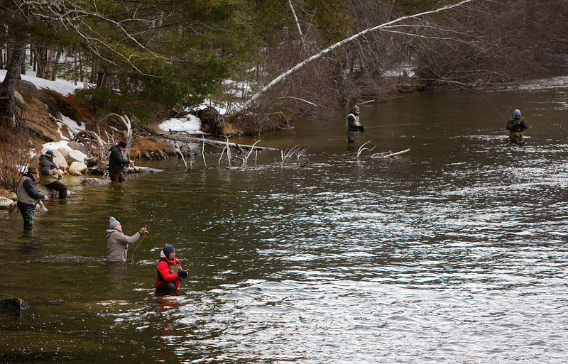 GRAND LAKE STREAM, Maine -- 04/01/2017 -- Fly fishermen try their hands at catching landlocked salmon at Grand Lake Stream during opening day of open water fishing season in Grand Lake Stream Saturday. Ashley L. Conti | BDN