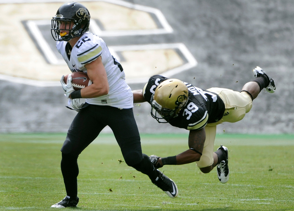 . BOULDER, CO.- APRIL13: Josh Moten, right, is unable to catch Nelson Spruce as he makes his way down field. The University of Colorado football team hosts its spring football game at Folsom Field under the direction of new head coach Mike MacIntyre. (Photo By Kathryn Scott Osler/The Denver Post)