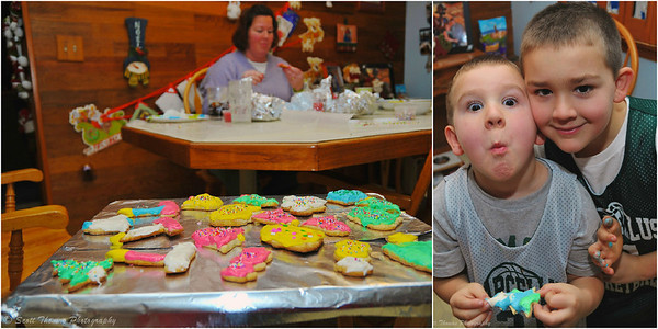My niece, Jodi, and her two boys who dug right into their cookie frosting tasks.