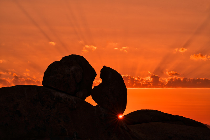 Spitzkoppe Sunset and Sun Star