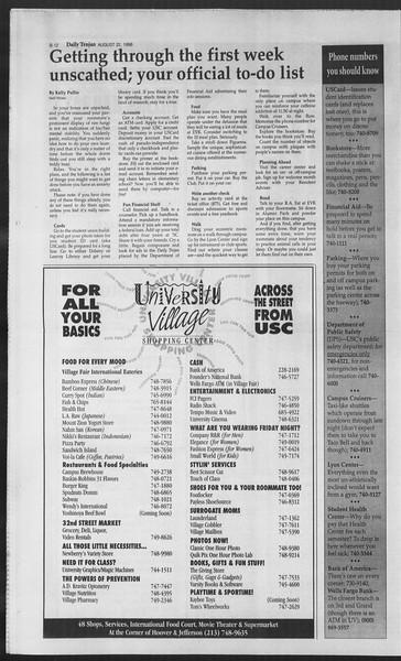 Daily Trojan, Vol. 129, No. 1, August 22, 1996