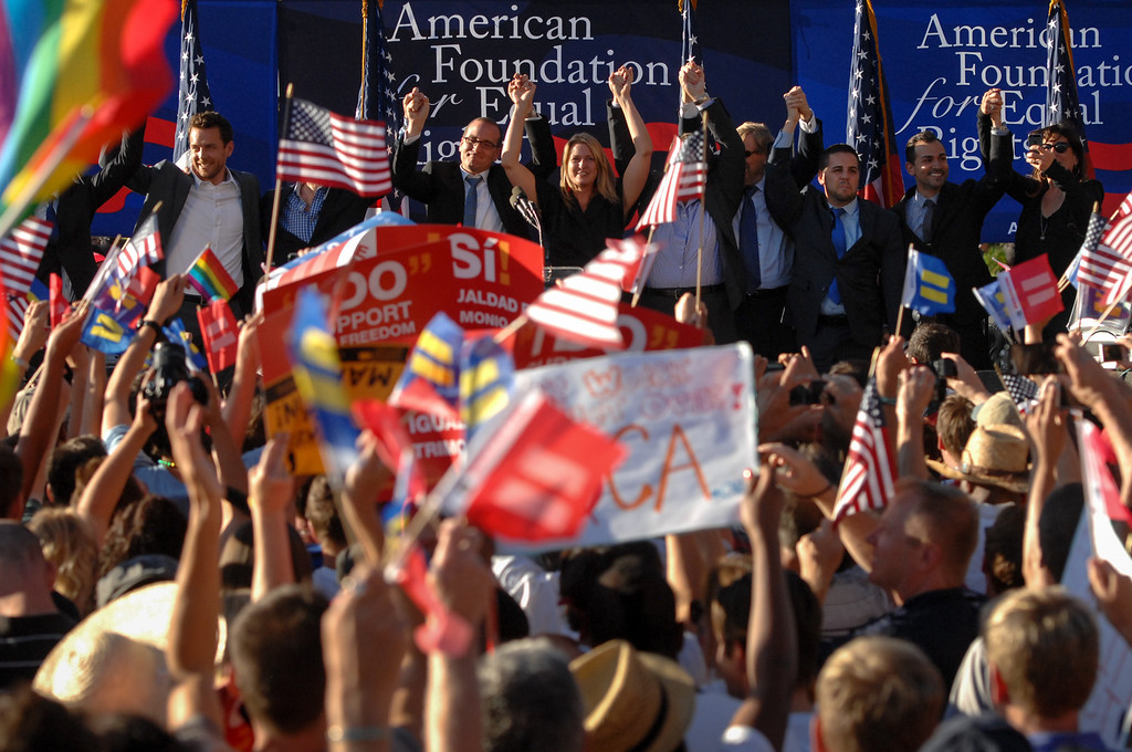 . Parties who were involved in the Prop 8 case are cheered at the rally in West Hollywood to celebrate the U.S. Supreme Court\'s ruling that killed Prop 8, Wednesday, June 26, 2013. (Michael Owen Baker/L.A. Daily News)