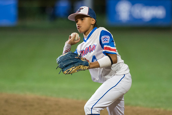 08/09/19 Wesley Bunnell | Staff New Jersey defeated Washington, DC on Friday August 9, 2019 in a Little League Baseball Eastern Regional Tournament game with New Jersey heading to the final on Saturday to face New York. Second baseman Yamil Soto (4).