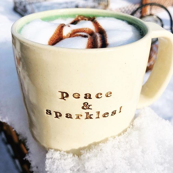 Blue skies, sunshine, a mocha and a dusting of fluffy snow to start this Sunday morning!