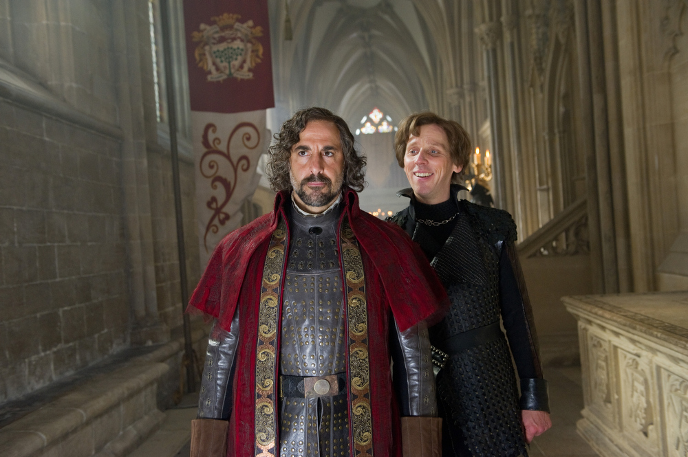 """. This film image released by Warner Bros. Pictures shows Stanley Tucci, left, and Ewen Bremner in a scene from \""""Jack the Giant Slayer.\"""" (AP Photo/Warner Bros. Pictures, Daniel Smith)"""
