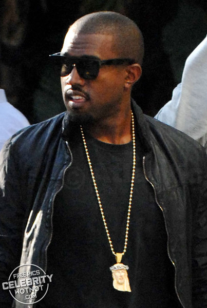 Kanye West Shows Off Gold Jesus Pendant