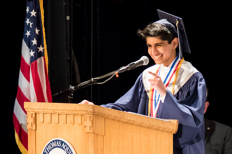 Valedictorian Keshav Joshi speaks during the St. Thomas Aquinas High School graduation ceremony at The Music Hall in Portsmouth Sunday. [Scott Patterson/Fosters.com]