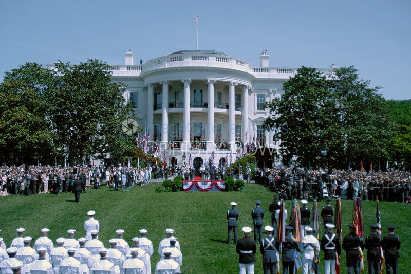White House State Arrival Ceremony on the South Lawn.