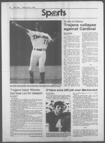 Daily Trojan, Vol. 108, No. 59, April 17, 1989