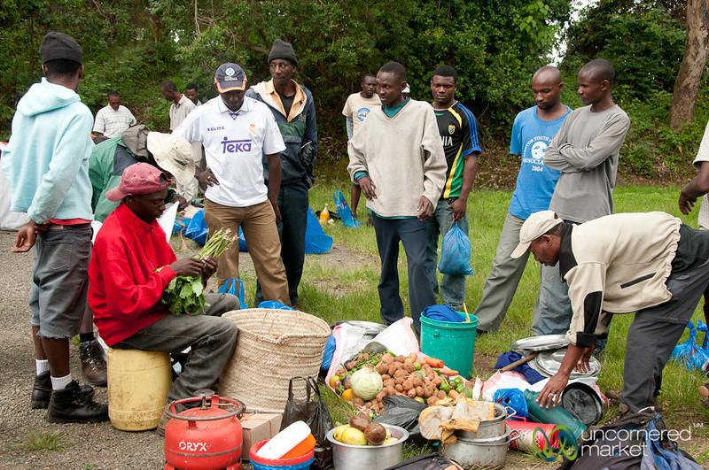 Porters Organize Food for Trek - Mt. Kilimanjaro, Tanzania