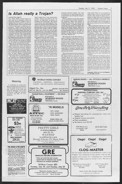 Summer Trojan, Vol. 74, No. 8, July 11, 1978