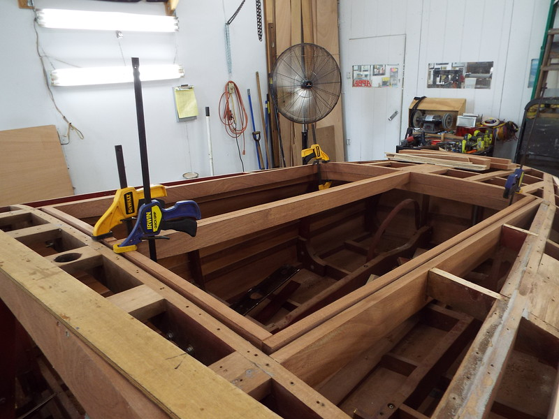 New engine hatch frames being fit to the boat.