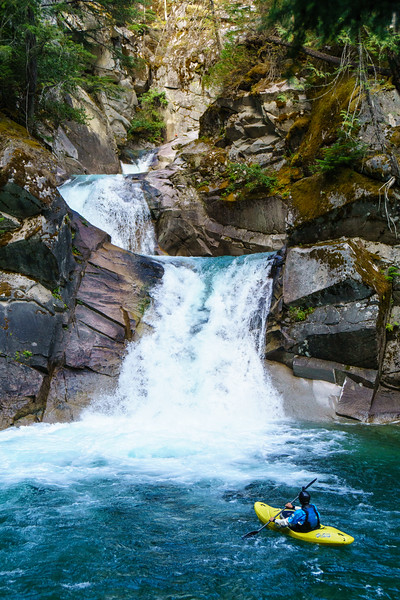 Chris Loughran takes in the magical triple drop on Rogers Creek in British Columbia.
