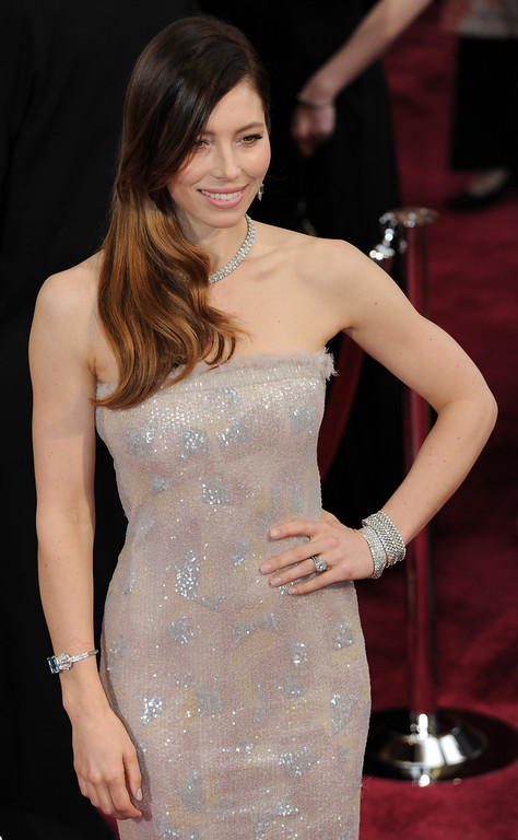 . Jessica Biel attends the 86th Academy Awards at the Dolby Theatre in Hollywood, California on Sunday March 2, 2014 (Photo by John McCoy / Los Angeles Daily News)