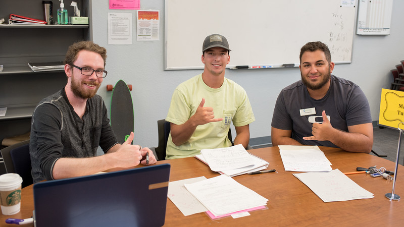 Devin O'Donnell (left), Luke Condron, and Anthony Matheson work on their Engineering Analysis assignment at the CASA Tutoring Center.  Learn more about the services provided by the CASA Tutoring Center: http://bit.ly/2s3SFld