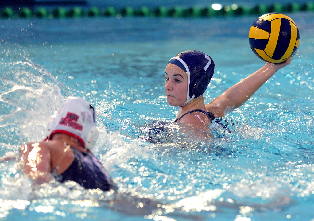 . Crescenta Valley\'s Breanna Lawton (#7) tries for a goal as they play Redlands East Valleyin the Southern Section Div. V semifinals girls water polo game at Whittier College\'s Lillian Slade Aquatics Center on Wednesday February 20, 2013. Crescenta Valley beat Redlands East Valley 14-4. (Staff photo by Keith Durflinger)