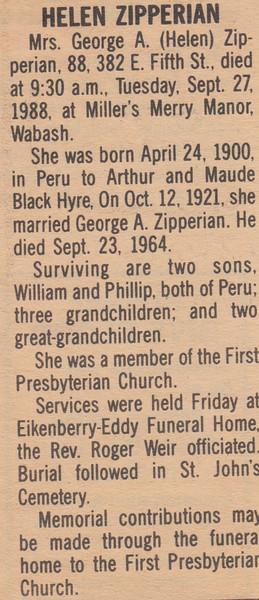 Newspaper Clipping - Obituary - Helen Zipperian - September 27, 1988.jpg