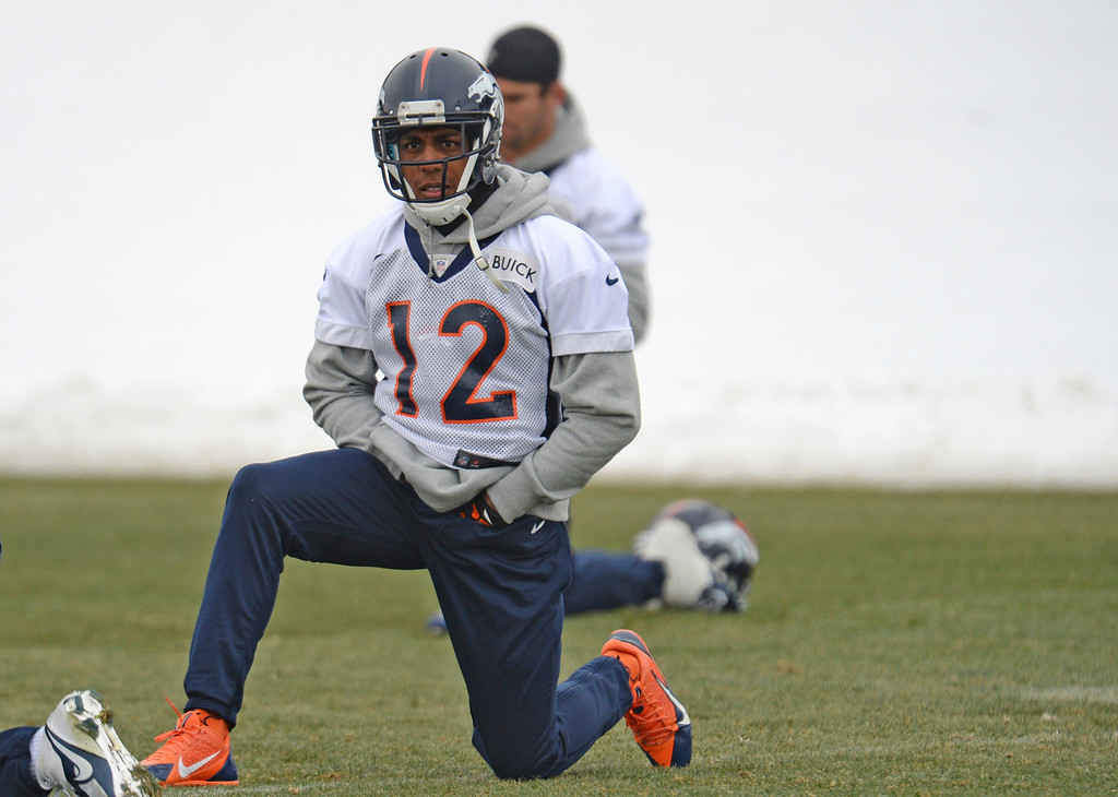. CENTENNIAL, CO. NOVEMBER 22 : Andre Caldwell of Denver Broncos (12) is warming up for the team practice at the field in Denver Broncos Headquarters at Dove Valley. Centennial, Colorado. November 22, 2013. (Photo by Hyoung Chang/The Denver Post)
