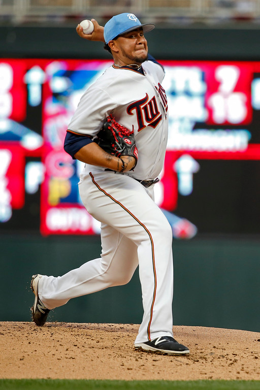 . Minnesota Twins starting pitcher Adalberto Mejia throws to the Cleveland Indians in the first inning of baseball game two of a doubleheader Saturday, June 17, 2017, in Minneapolis. (AP Photo/Bruce Kluckhohn)