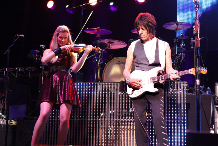 . Lizzie Bell plays violin with Jeff Beck at the Fox Theatre in Detroit on Friday, Oct. 25, 2013. Photo by Ken Settle