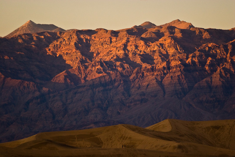 Evening light on the Amargosa range - with the sand-dunes in the foreground, Death Valley National Park