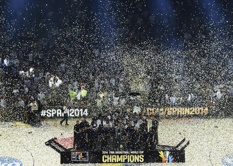 . US players celebrate on the podium after winning the 2014 FIBA World basketball championships final match USA vs Serbia at the Palacio de los Deportes in Madrid on September 14, 2014. USA won the match 129-92. PIERRE-PHILIPPE MARCOU/AFP/Getty Images