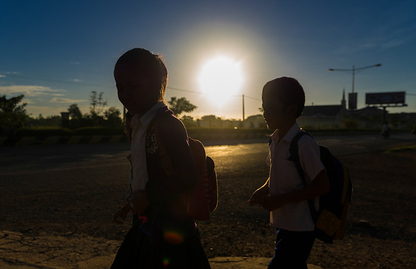 Cambodian Kids on Their Way to School