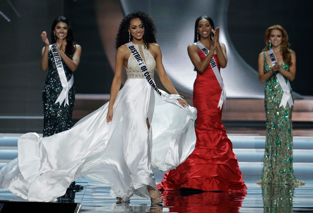 . Miss District of Columbia Kara McCullough competes during the Miss USA contest Sunday, May 14, 2017, in Las Vegas. (AP Photo/John Locher)