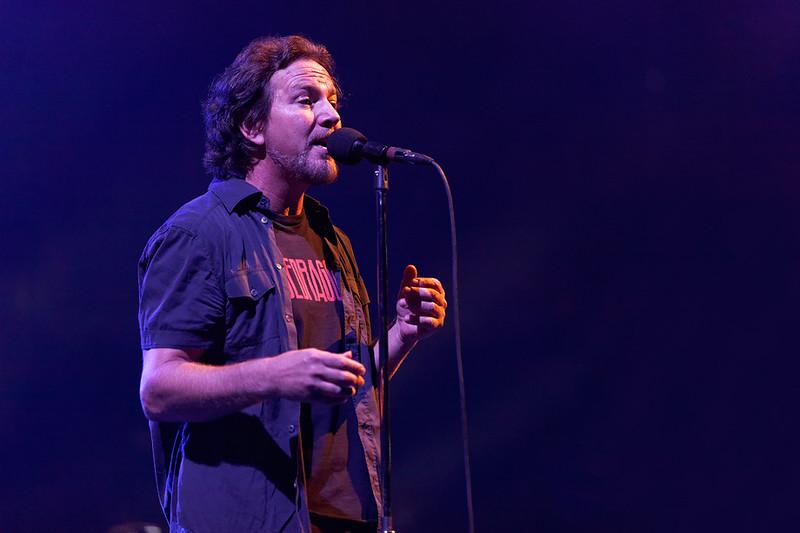 . Eddie Vedder of Pearl Jam at Joe Louis Arena in Detroit Oct. 16, 2014. Photo by Ken Settle