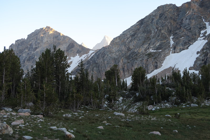 A quick peek at Grand Teton through a gap in Paintbrush Canyon