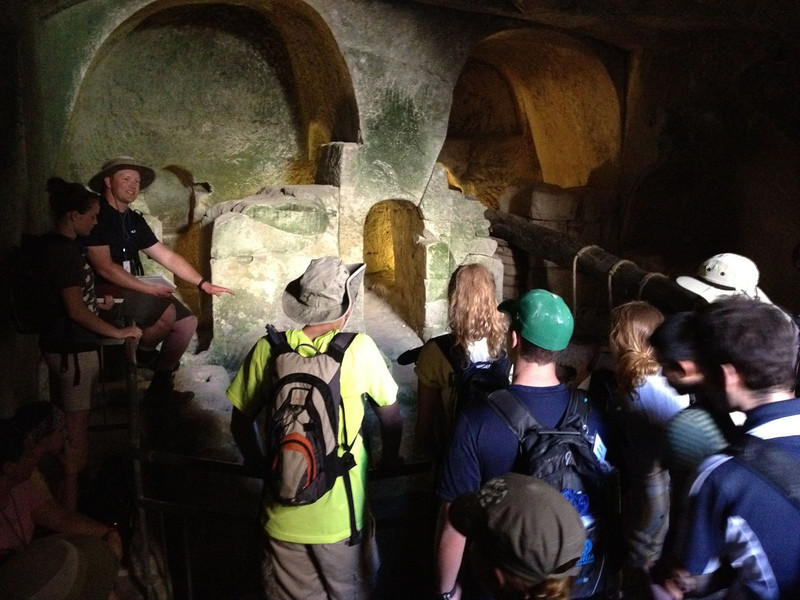Olive press at Bet Guvrin. Learning about how Jesus was crushed for our sins.