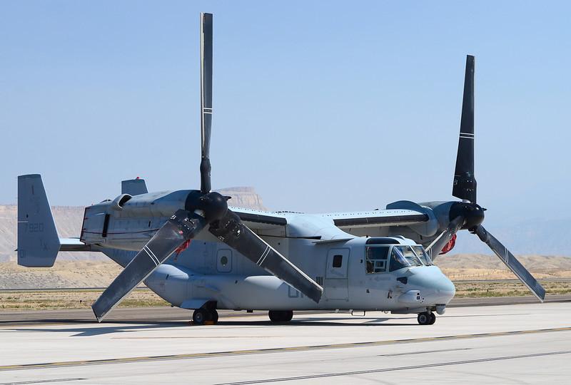 "Marine Medium Tiltrotor Squadron 166 (VMM-166) ""The Sea Elks"" V-22 Osprey on the ramp at Grand Junction Colorado."