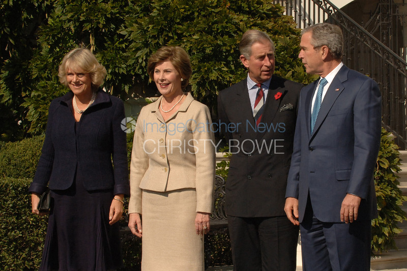 President George W. Bush and First Lady Laura welcome Prince Charles and Camellia to The White House.