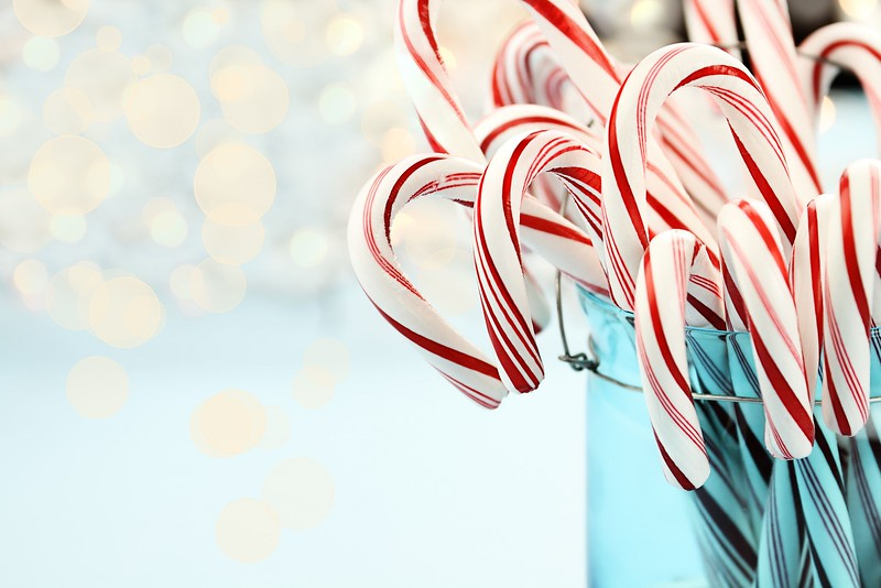 Candy Canes Against Blue