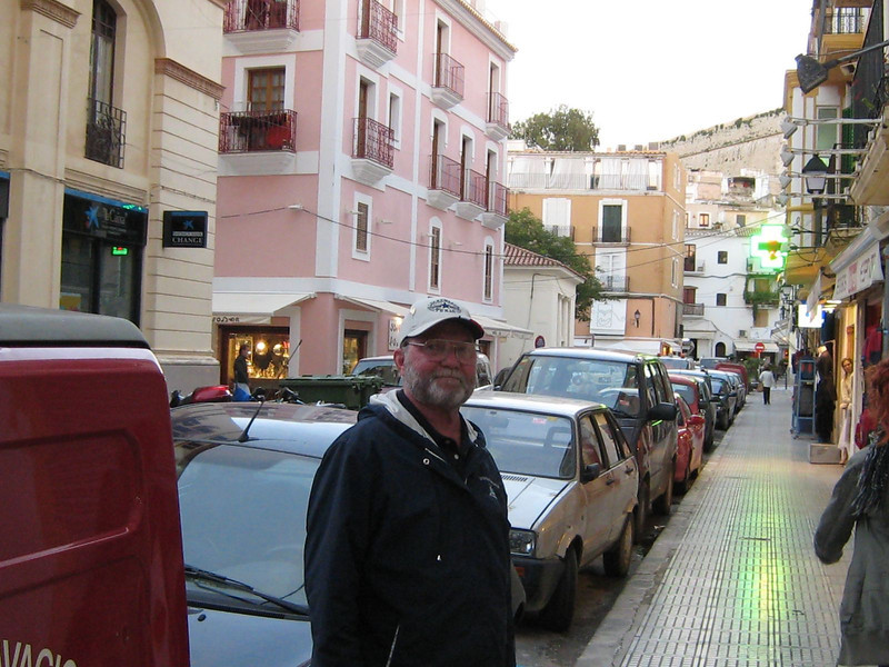 Ibiza Town, Spain - David looking for postcards!