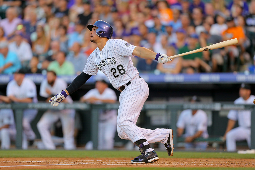 . DENVER, CO - JULY 22:  Nolan Arenado #28 of the Colorado Rockies watches his two run home run during the third inning against the Washington Nationals at Coors Field on July 22, 2014 in Denver, Colorado.  (Photo by Justin Edmonds/Getty Images)