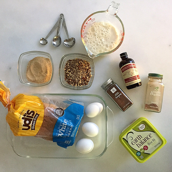 Ingredients for Overnight, Gluten-Free, Diary-Free French Toast Casserole