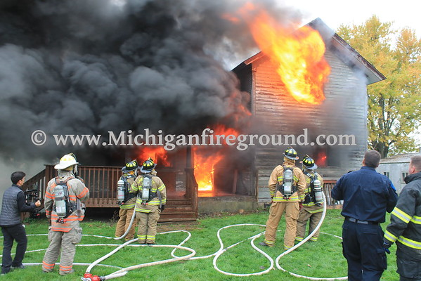 10/20/16 - Michigan State Police live burn training exercise - 5083 Mulliken Rd