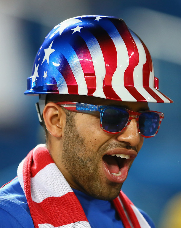 . A fan of the United States looks on during the 2014 FIFA World Cup Brazil Group G match between Ghana and the United States at Estadio das Dunas on June 16, 2014 in Natal, Brazil.  (Photo by Kevin C. Cox/Getty Images)