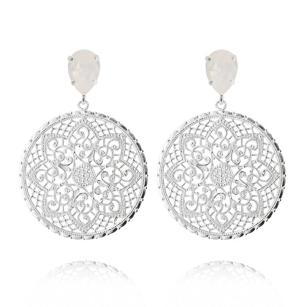 Alexandra Earrings / White Opal Rhodium