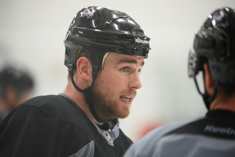. Ryan O\'Reilly of Colorado Avalanche (90) is in the team practice for the the first round of the playoff game against Minnesota Wild at Family Sports Center. Centennial, Colorado. April 15. 2014. (Photo by Hyoung Chang/The Denver Post)