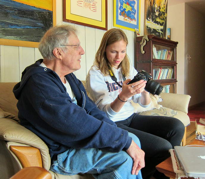 Larry Lebin with Annie, at Larry's home. Oct 16 2011