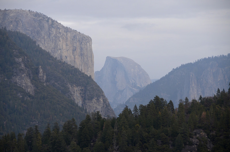 First view of El Capitan and Half Dome