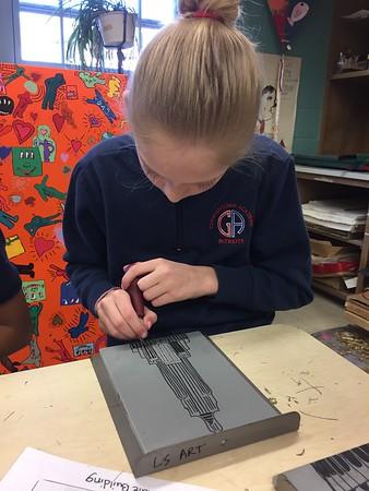 5th Grade - Linoleum Block Printing - Famous Architecture/Monuments