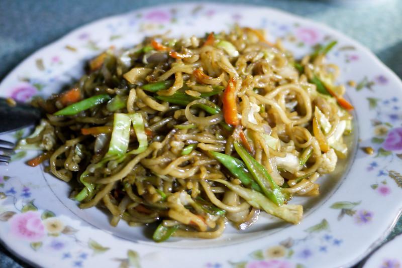 Fried chinese noodles in Bagan, Burma (Myanmar)