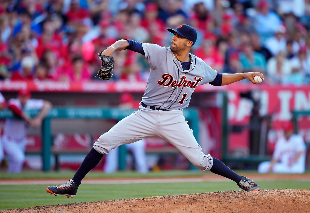 . Detroit Tigers\' David Price throws to the plate during the fourth inning of a baseball game against the Los Angeles Angels, Sunday, May 31, 2015, in Anaheim, Calif. (AP Photo/Mark J. Terrill)