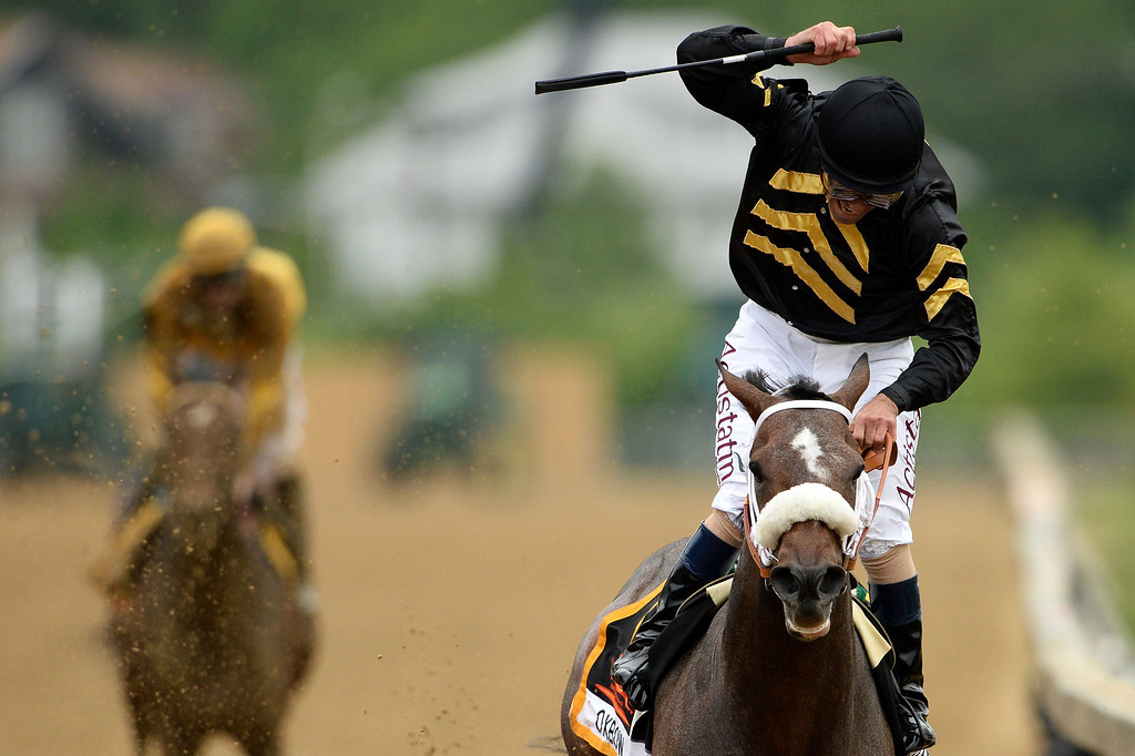 . BALTIMORE, MD - MAY 18:  Gary Stevens celebrates atop of Oxbow #6 after crossing the finish line to win the 138th running of the Preakness Stakes at Pimlico Race Course on May 18, 2013 in Baltimore, Maryland.  (Photo by Patrick Smith/Getty Images)