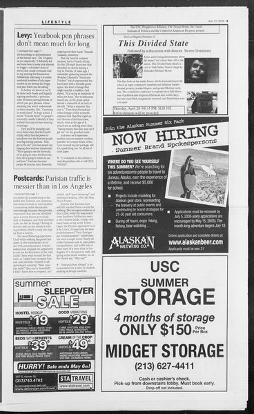 Daily Trojan, Vol. 154, No. 66, April 27, 2005