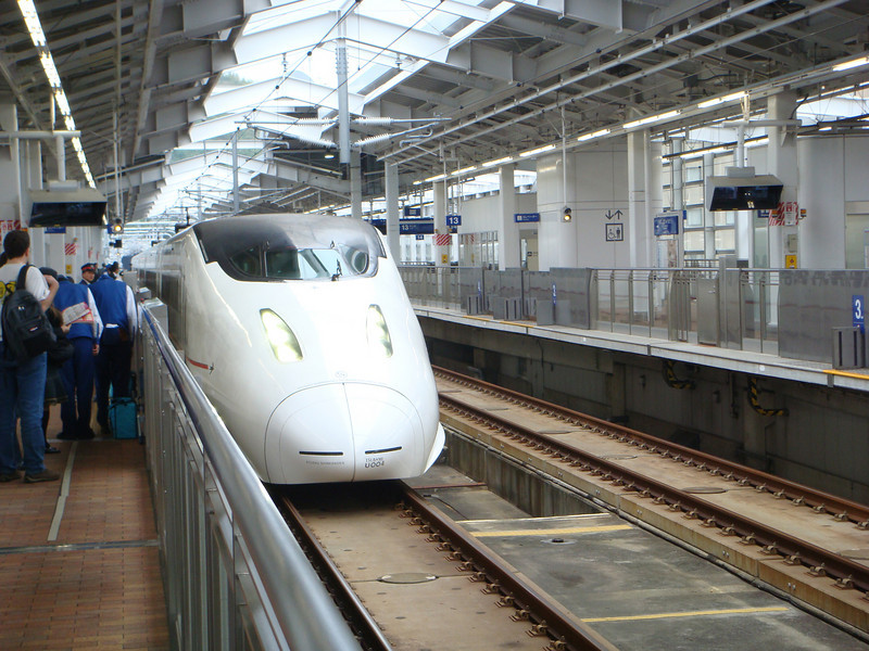 Bullet train arrives at the train station in Kagoshima, Japan